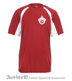 Red/white polyester performance t-shirt with white Olympic Soccer logo