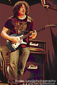 Jason Stage at a show playing with Cellino's .44 Mag Specials in his Parker Guitar.