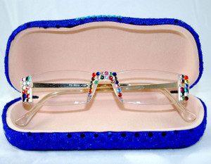 Mixed crystal colors on gold frames w/ sequin hard case