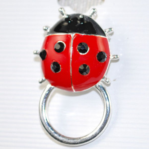 Bling Lady Bug Eyeglass Holder Pin