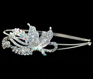 AB Crystal Butterfly silver metal hair band