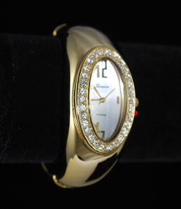 Bling Gold Rhinestone Bangle Watch