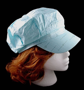 Side View of Newsboy style cap, note shorter visor than baseball cap