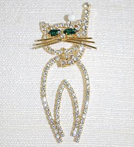 Vintage Cat crystal pin