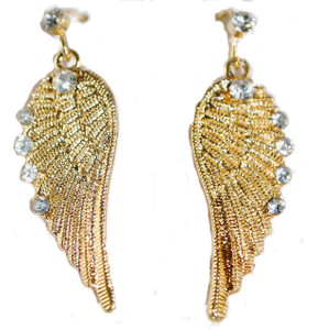 Bling Crystal Accent Angel Wing Earrings