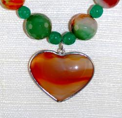 Detail of Heart/Sterling framed Pendant