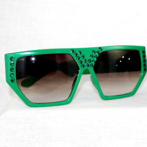 Kelly Green Geo Flat Top over-sized lenses