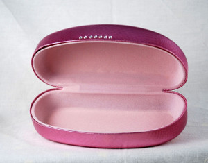 Metallic Pink eyeglass or sunglasses hard case w/light pink flocked interior