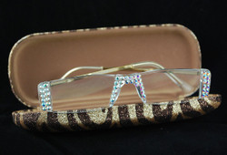 Interior of flocked case showing crystal readers