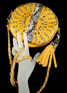 Mustard Messenger Bag w/ tassel and nail head decor