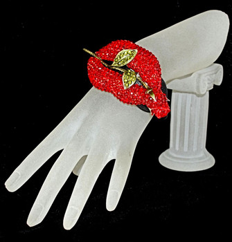 Roses and Lips Crystal/ Leatherette black bracelet
