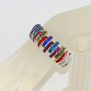 View of Genuine multi-color crystal hinged bracelet on wrist