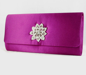 Purple Satin Evening clutch w/Rhinestone Medallion