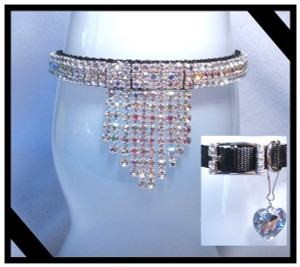 "Front view of necklace and the ""Bib"" in AB crystals.  The insert shows the Rhinestone buckle and heart charm!"