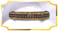 """Bling Jet & Topaz Crystal 5/8"""" wide Black Velvet Dog Collar"""