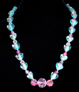 Beautiful Heart foiled glass necklace
