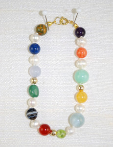 Full Photo of Bridal Bracelet of Heaven (all different gemstones incl. 14kt gold