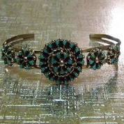Navajo Cuff Bracelet: Silver With Turquoise