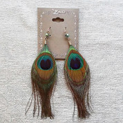 ZAD Peacock Feather Hook Earrings