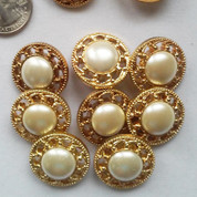 Gold and Pearl Shank Buttons (12) Free Shipping