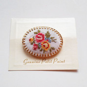 Petit Point Brooch-Genuine Vintage Pin - Free Shipping!
