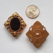 Diamond-Shaped Filigree Velvet Shank Buttons (10) Free Shipping