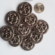 Ornate Silver Flower Shank Buttons (12) Free Shipping
