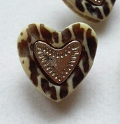 Retro Heart Resin and Silver Buttons - Shank Button Set (6) - Free Shipping!