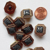 Square Burnished Copper Button With Polka Dots - Shank Button