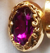 Elegant Fuschia Jeweled Gold Button – Ovular Shank Button
