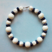 Prime Vintage Navy and White Beaded Necklace