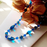 Blue Beaded Necklace with Gold Accents - Vintage