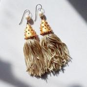 Handmade Vintage Silk Tassel Earrings
