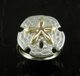 Steven Douglas Sterling silver and 14k gold Sand Dollar ring
