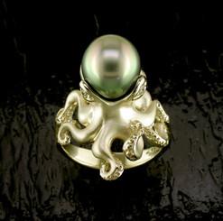 Steven Douglas Sterling 14k gold  Octopusw/ Tahitian Pearl and Diamonds