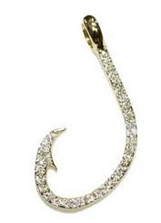 Reyes Del Mar Sterling silver Hook Pendant w/ CZ