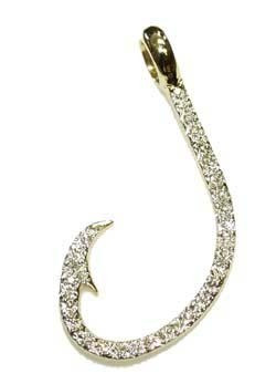 Reyes del mar 14k white gold and diamond fish hook pendant www image 1 mozeypictures Image collections