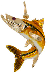 Reyes Del Mar 14k Yellow Gold enameled Snook Pendant