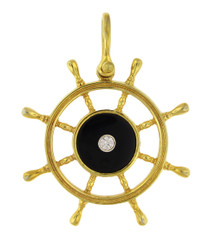 Reyes Del Mar 14k yellow gold Ship Wheel Pendant with Onyx and Diamond