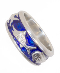 Reyes Del Mar Sterling silver ring with blue enamel Mahi Sailfish and Marlin