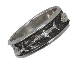 Reyes Del Mar Sterling silver ring with black enamel