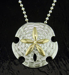 Steven Douglas Sterling silver and 14k gold Sand Dollar pendant