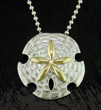 Steven douglas sterling silver and 14k gold sand dollar pendant sterling silver and 14k gold sand dollar pendant image 1 aloadofball Images