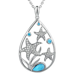 Sterling silver Blue Hawaiian Stars Larimar Pendant