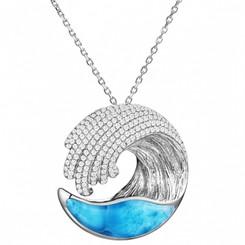 Large Sterling Silver Larimar Wave Pendant