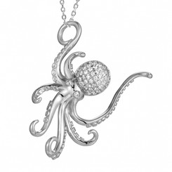 Sterling Silver Pave Crystal Octopus Pendant w/ chain