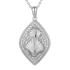 Sterling Silver Pave Crystal Sea Shell Pendant w/ Chain
