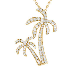 Sterling Silver Pave Crystal Douple Palm Tree Pendant
