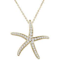 Sterling Silver Pave Crystal Starfish Pendant w/ Chain