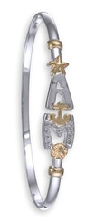 3mm Two Tone AMI Bracelet w/ Diamonds